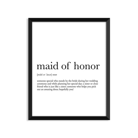 Maid of Honor definition art print or greeting card