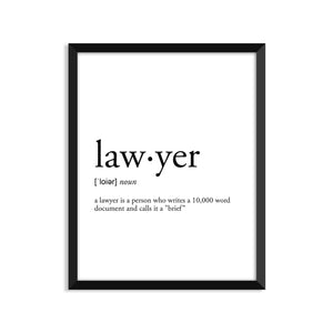 Lawyer Definition - Unframed Art Print Or Greeting Card