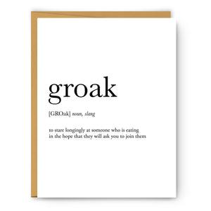 Groak Definition - Unframed Art Print Or Greeting Card