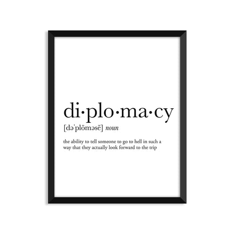 Diplomacy definition art print or greeting card
