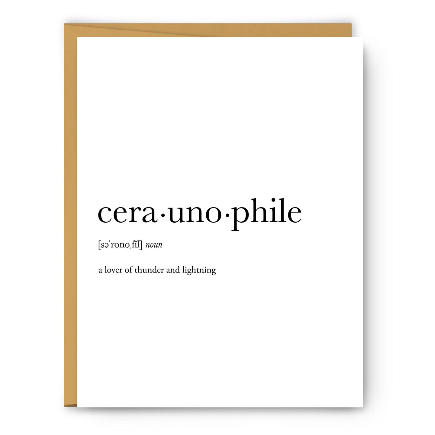 Ceraunophile Definition - Unframed Art Print Or Greeting Card
