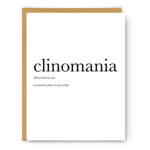 Clinomania Definition - Unframed Art Print Or Greeting Card
