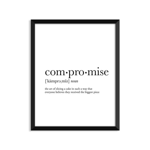Compromise definition art print or greeting card