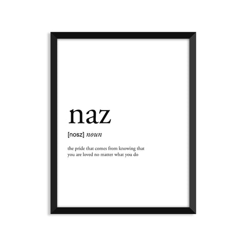 Naz definition art print or greeting card
