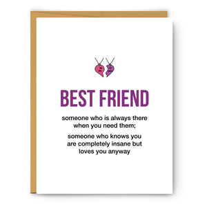 Best Friend Definition Illustration - Unframed Art Print Poster Or Greeting Card