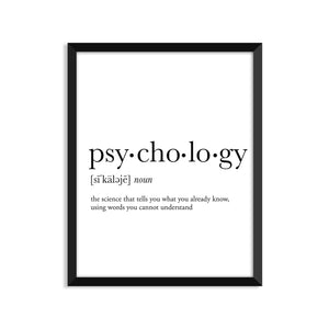 Psychology Definition - Unframed Art Print Or Greeting Card
