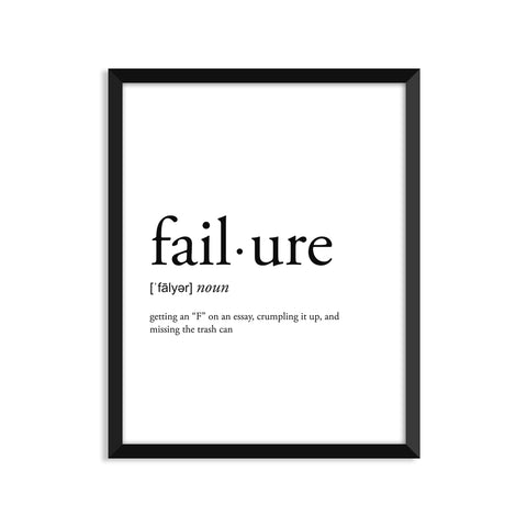 neologism modern gifts failure definition footnotes  failure definition art print or greeting card