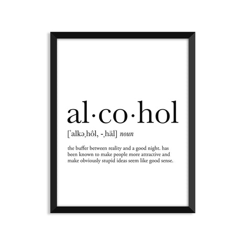 Alcohol definition art print or greeting card