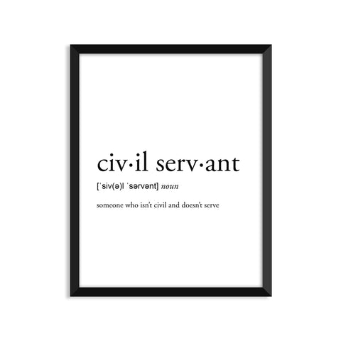 Civil Servant definition art print or greeting card