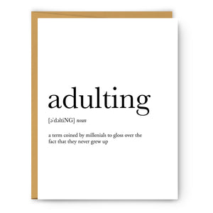 Adulting Definition - Unframed Art Print Or Greeting Card