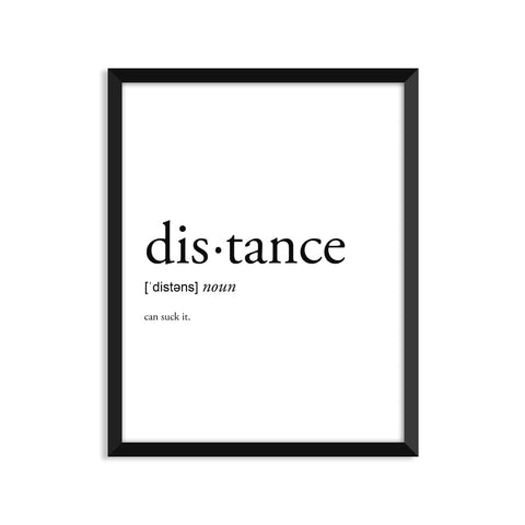 Distance definition art print or greeting card