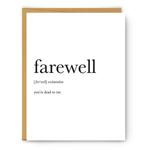 Farewell Definition - Unframed Art Print Or Greeting Card