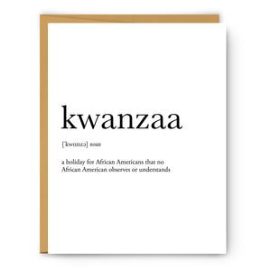 Kwanzaa Definition - Unframed Art Print Or Greeting Card