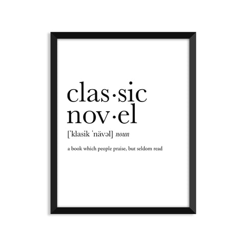 Classic Novel definition art print or greeting card