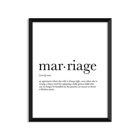 Marriage definition art print or greeting card