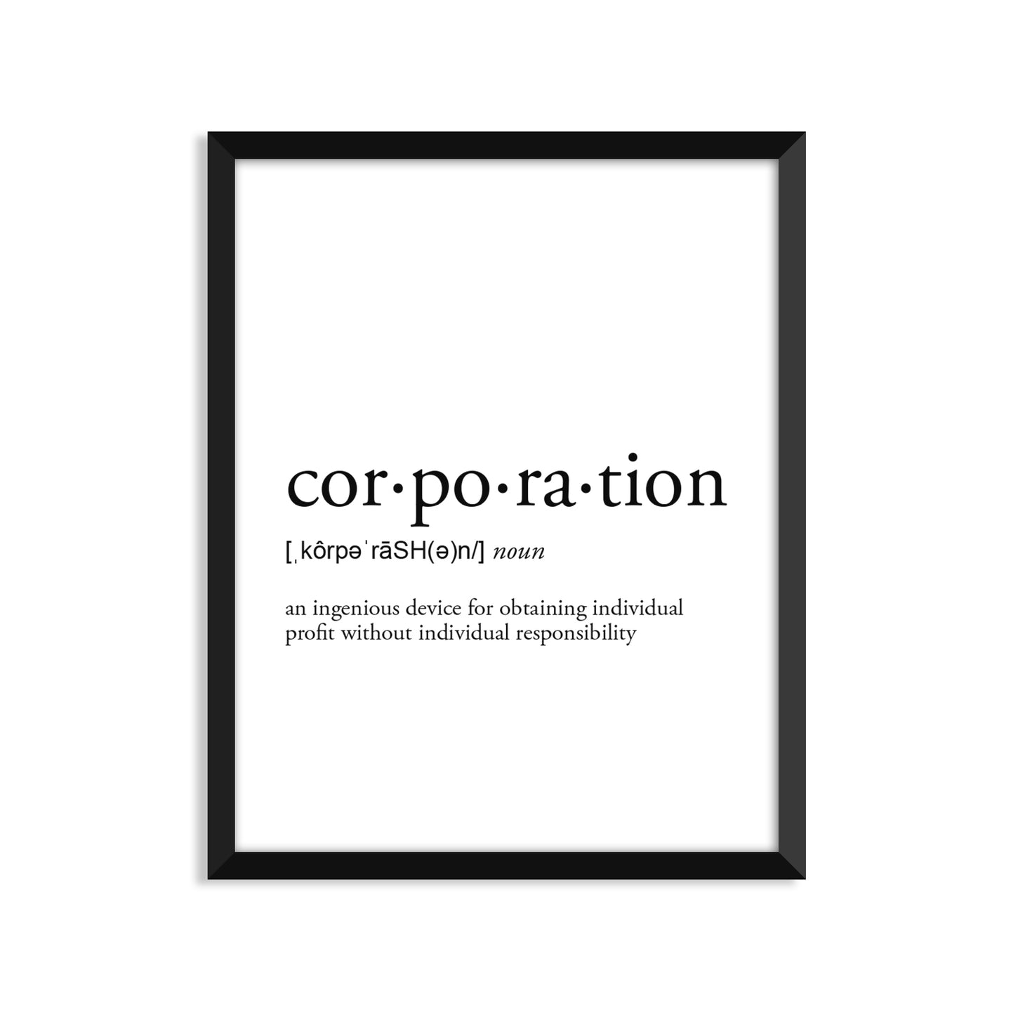 Corporation Definition - Unframed Art Print Or Greeting Card