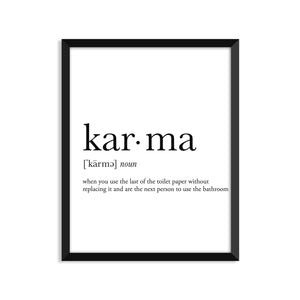 Karma definition art print or greeting card