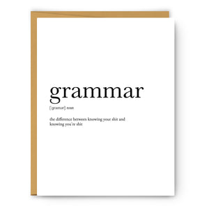 Grammar Definition - Unframed Art Print Or Greeting Card