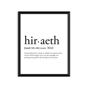 Hiraeth Definition - Unframed Art Print Or Greeting Card