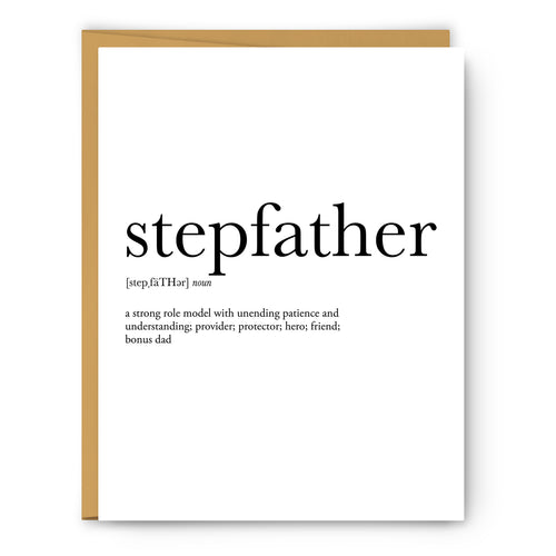 Stepfather Definition - Unframed Art Print Or Greeting Card