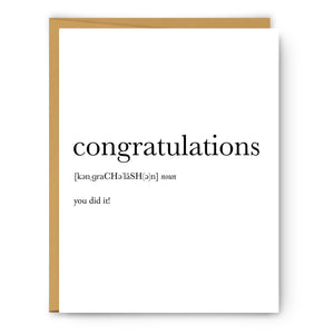 Congratulations Definition - Unframed Art Print Or Greeting Card