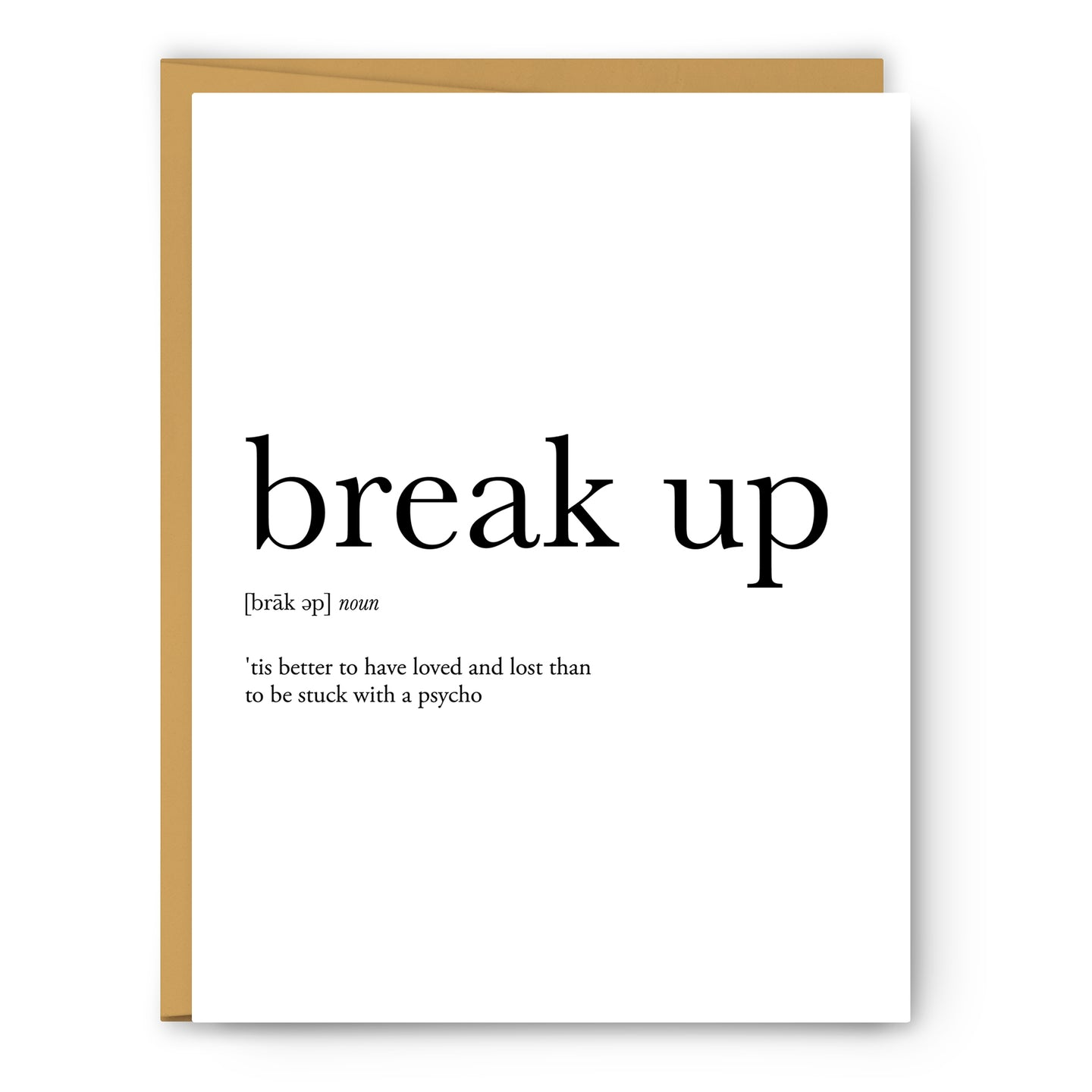 Break Up Definition - Unframed Art Print Or Greeting Card