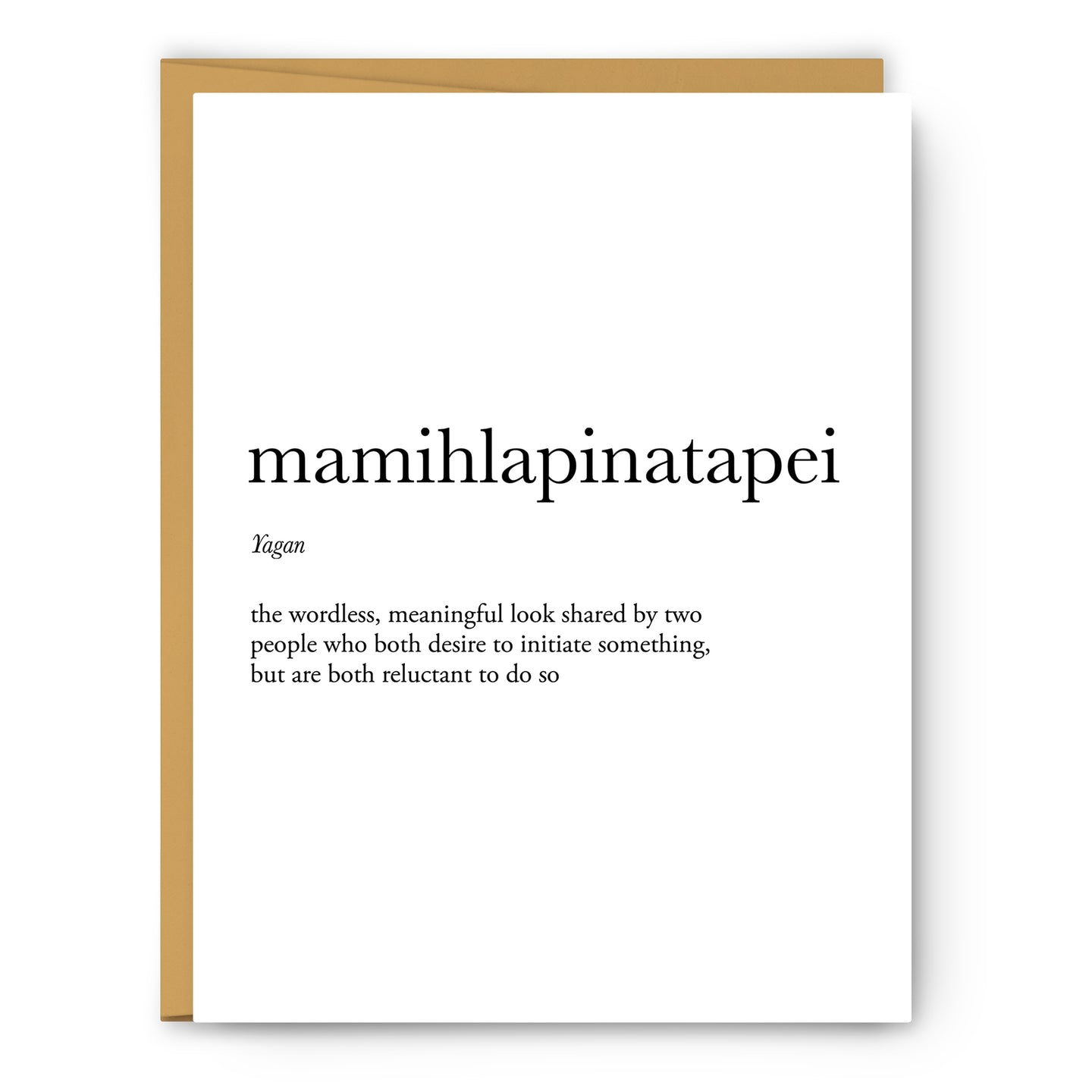 Mamihlapinatapei Definition - Unframed Art Print Or Greeting Card