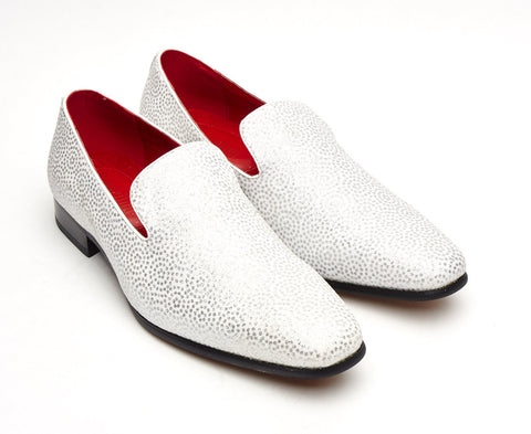 Celestial white sparkley shiny loafer mens slip on shoe red lining party wedding ball room gatsby shoe size 6 7 8 9 10 11 12