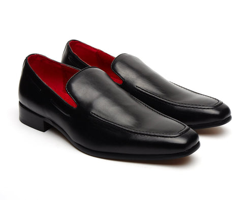 Debonair mens smart casual black leather loafers red lining slip on shoes work wear party formal casual gatsby shoe size 6 7 8 9 10 11 12 mens gift retro wear with everything