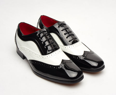 1920's 1930's great gatsby shoe black and white lace up brogue old hollywood glamour size 6 7 8 9 10 11 12 al capone gangster classy dress up party shoe mens unique gift
