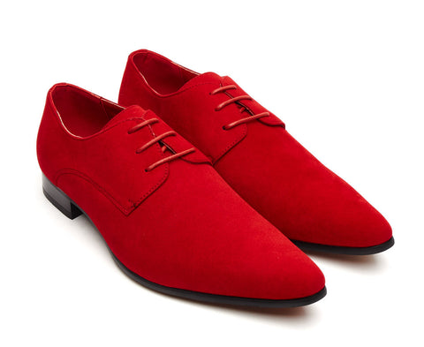 Pointed suede lace up shoe in red for men size 6 7 8 9 10 11 party casual dress up gatsby shoe mens unique gift