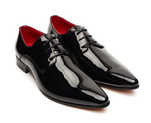 Smart black shiny patent pointy lace up evening shoes for men size 6 7 8 9 10 11 12 for wedding party formal evening dress up shoe unique mens gift pointed gatsby shoe