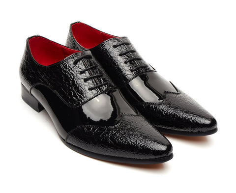 mens black pointed lace up shoe polished patent leather style size 6 7 8 9 10 11 12 wedding party classy formal office gatsby shoe mens unique gift