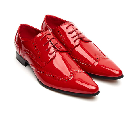 patent shiny red sleek pointy brogue lace up size 6 7 8 9 10 11 12 fancy dress evening formal party hollywood great gatsby pointed shoe for men unique gift al capone gangster style 1920's 1930's 1940's