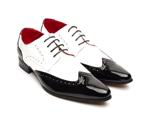 patent shiny black and white sleek pointy brogue detail lace up size 6 7 8 9 10 11 12 fancy dress evening formal wedding party hollywood great gatsby pointed shoe for men unique gift al capone gangster style 1920's 1930's 1940's