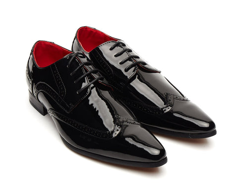patent shiny black pointy brogue lace up size 6 7 8 9 10 11 12 fancy dress evening formal party gatsby shoe for men unique gift