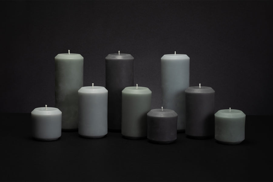 Slate Beeswax Pillar Candle