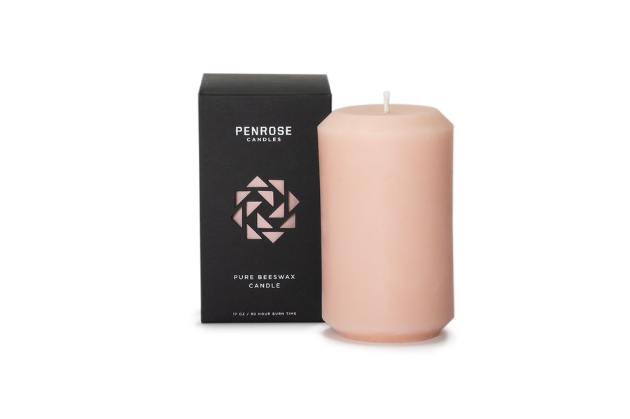 Rosé Beeswax Pillar Candle
