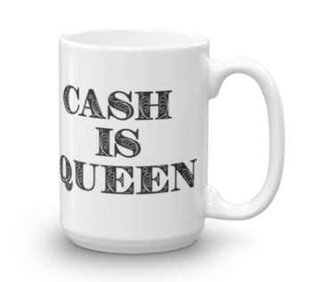 JEFA / Cash is Queen - double sided Mug - black
