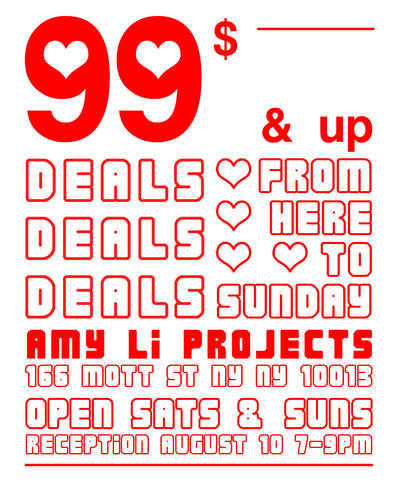 99 dollars and up deals from here to sunday saturdays and sundays at amy li projects