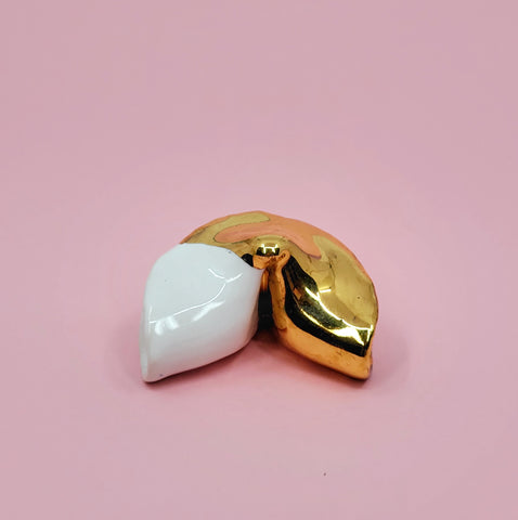 casey lin gold porcelain fortune cookie