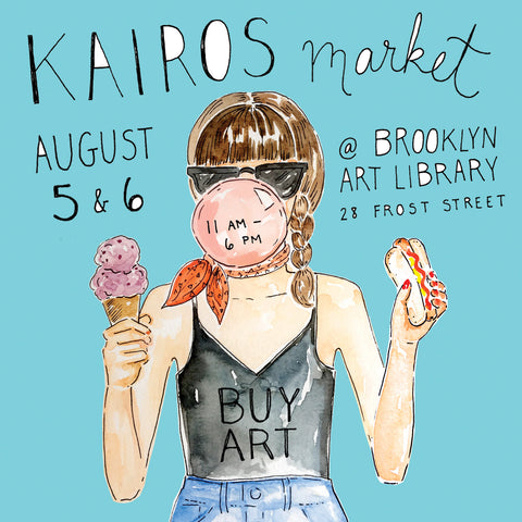 kairos market august 5 and 6 at brooklyn art library promo