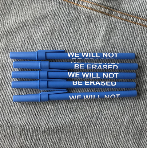 Double Denim Dude: We Will Not Be Erased Pens