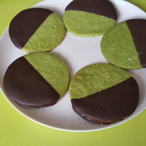 FHTS: Chocolate-Dipped Matcha Shortbread Cookies, dozen