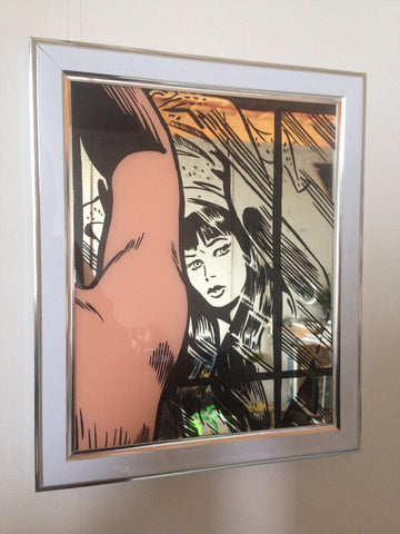 Kurt McRobert: 'Girl in the Mirror' Glass Gild
