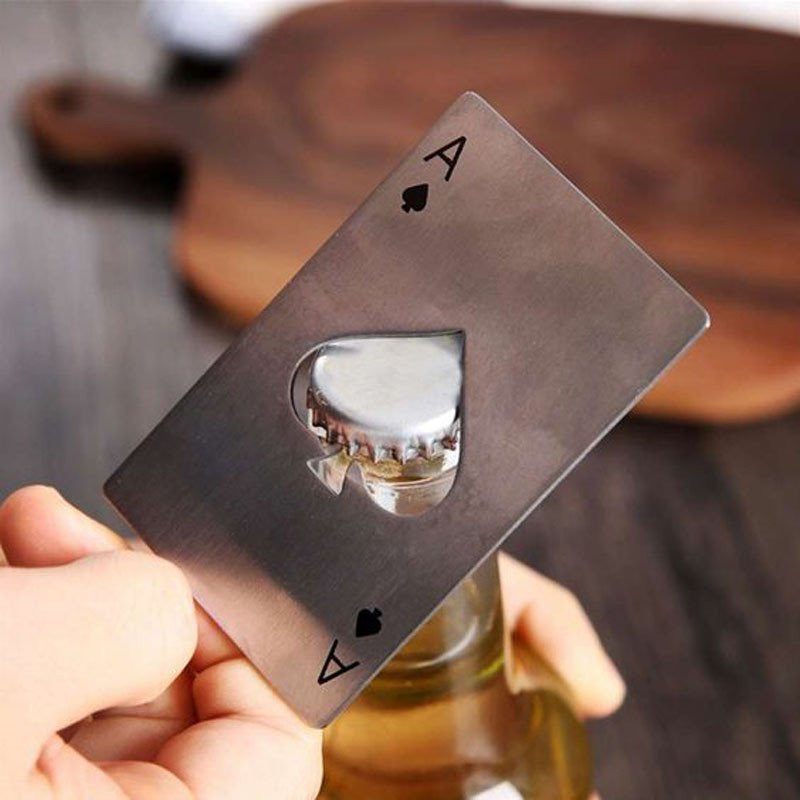 Ace of spades bottle opener opening a beer