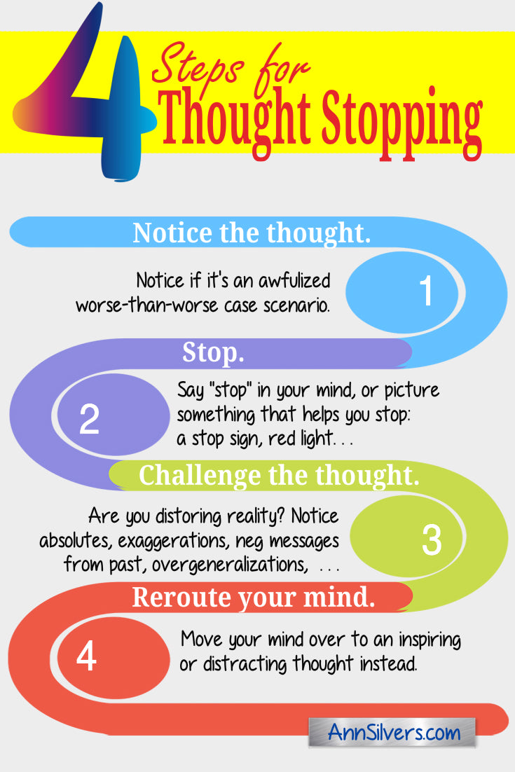 how to stop thinking about something, thought stopping techniques, negative thinking, what is thought blocking, negative thoughts anxiety, how to stop catastrophizing