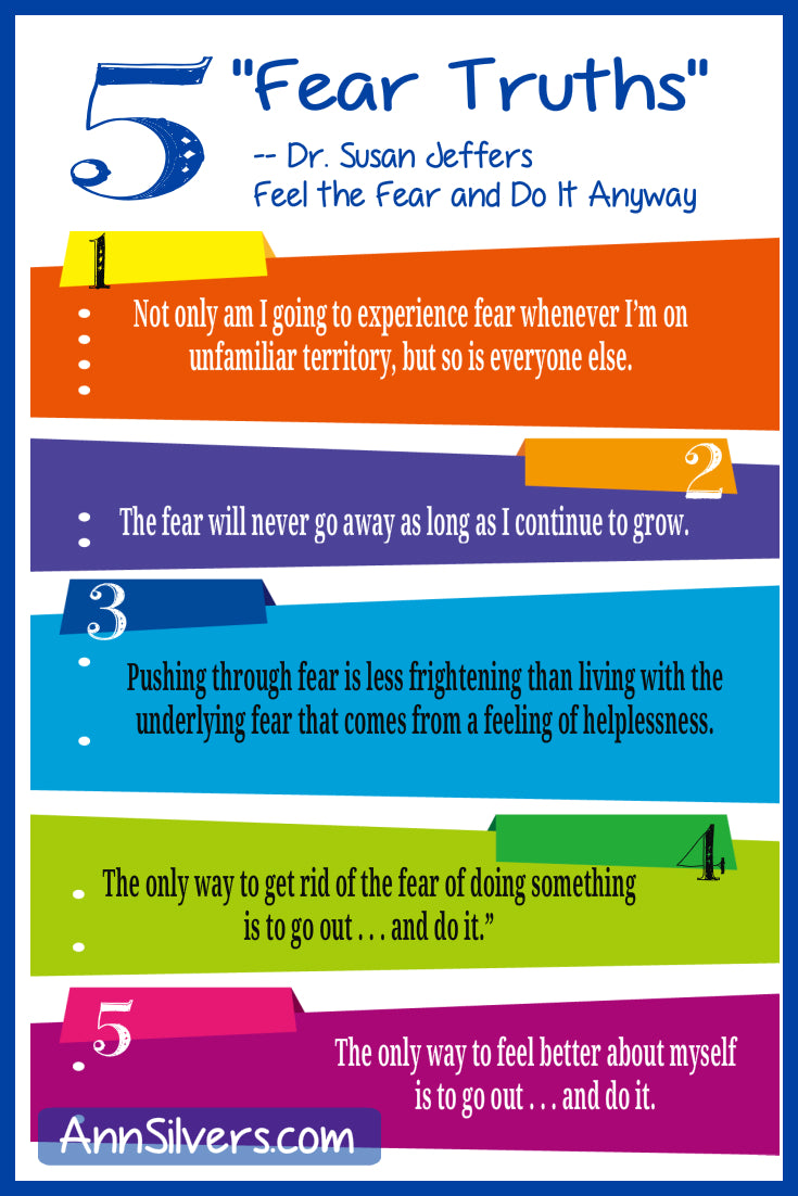 5 Fear Truths Susan Jeffers infographic, stepping outside of your comfort zone quotes, stepping outside of your comfort zone quotes