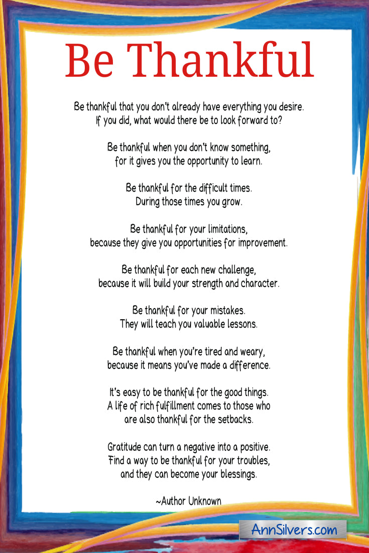 Be Thankful Poem