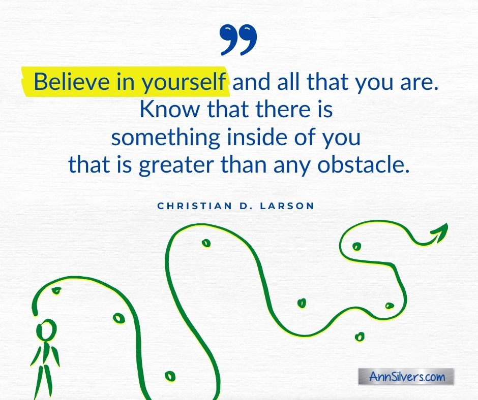 Believe in yourself anxiety relief quote